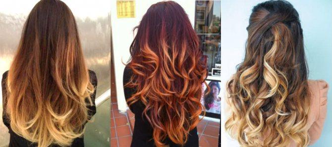 3 разных омбре на темные волосы