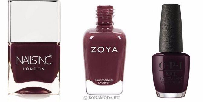 Цвета лака для ногтей 2020: модные новинки - тёмный вишневый и бургундский