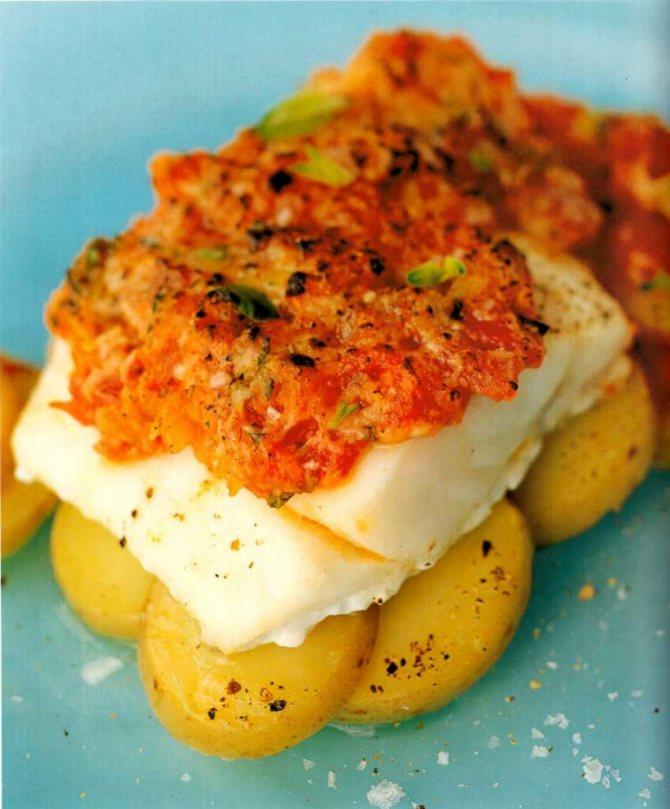 Филе трески в духовке с картошкой