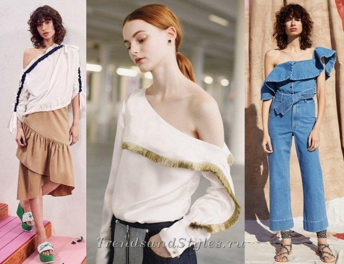 фото модная одежда с приспущенной линией плеча осень-зима 2018-2019