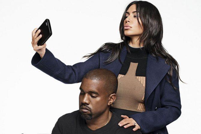 Ким Кардашьян и Канье Уэст в съемке для Harpers Bazaar
