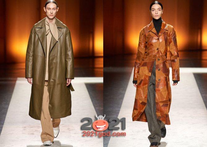 Кожаные женские пальто на 2021 год
