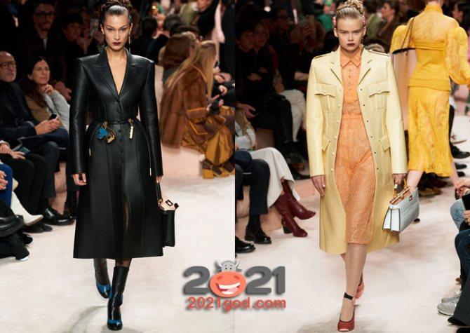 Кожаные женские пальто на зиму 2021 года