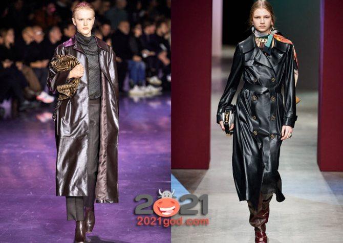 Кожаные женские пальто сезона осень-зима 2020-2021