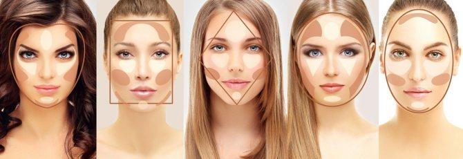 На фото: как скорректировать лицо с помощью макияжа