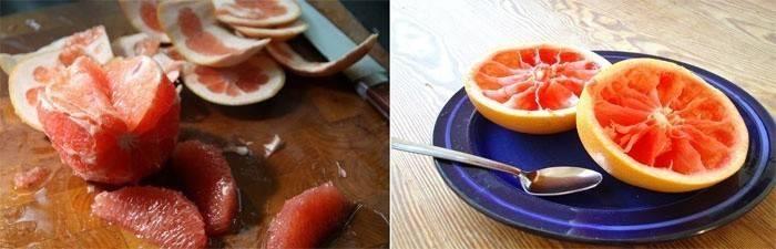Очищаем грейпфрут от кожуры