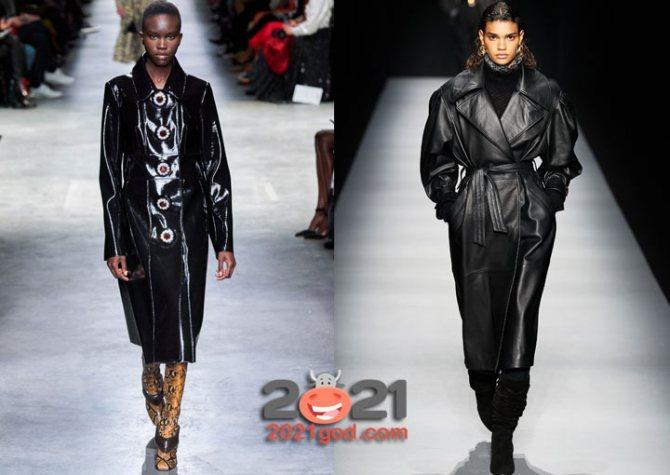 Пальто из кожи - тренд 2021 года