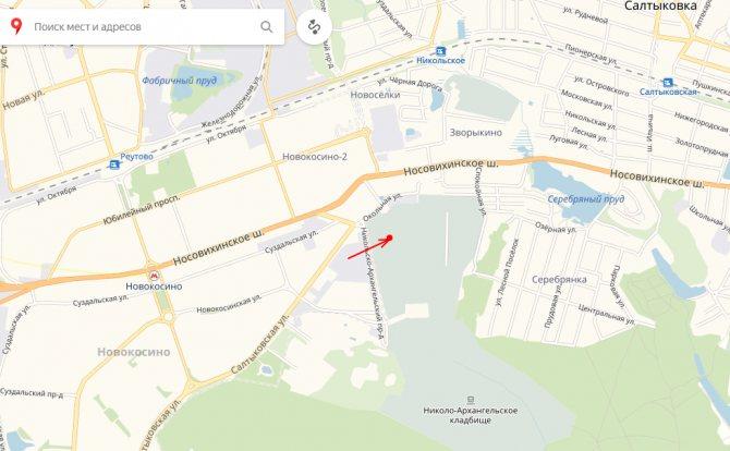 Рисунок 1. Расположение могилы Жанны на карте