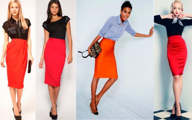 С чем носить красную юбку-карандаш на работу