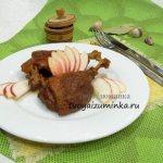Утка кусочками тушеная с яблоками в сковороде, рецепт с пошаговым фото