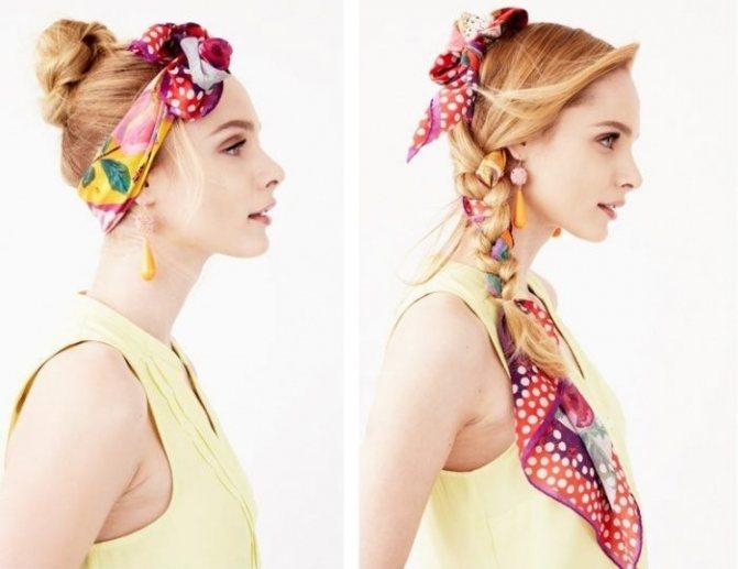 Вплетите шарф в коси или сделайте подобие обруча